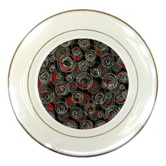 Red and gray abstract art Porcelain Plates