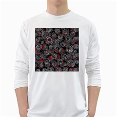 Red and gray abstract art White Long Sleeve T-Shirts