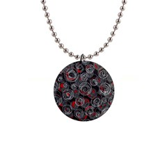 Red and gray abstract art Button Necklaces