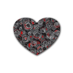 Red and gray abstract art Heart Coaster (4 pack)