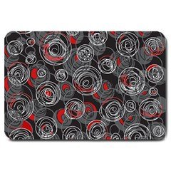 Red and gray abstract art Large Doormat