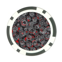 Red and gray abstract art Poker Chip Card Guards (10 pack)