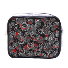 Red and gray abstract art Mini Toiletries Bags