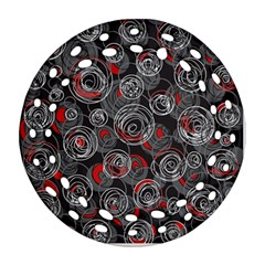 Red and gray abstract art Ornament (Round Filigree)