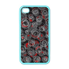 Red and gray abstract art Apple iPhone 4 Case (Color)