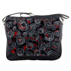 Red and gray abstract art Messenger Bags