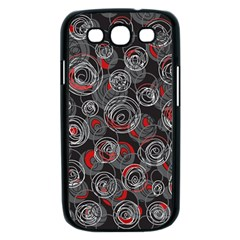 Red and gray abstract art Samsung Galaxy S III Case (Black)