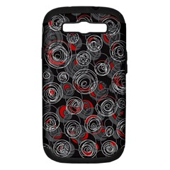 Red and gray abstract art Samsung Galaxy S III Hardshell Case (PC+Silicone)