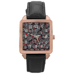 Red and gray abstract art Rose Gold Leather Watch