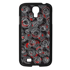 Red and gray abstract art Samsung Galaxy S4 I9500/ I9505 Case (Black)