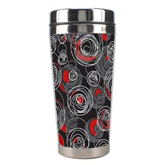 Red and gray abstract art Stainless Steel Travel Tumblers