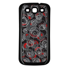 Red and gray abstract art Samsung Galaxy S3 Back Case (Black)