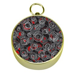 Red and gray abstract art Gold Compasses