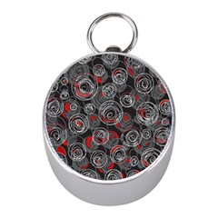 Red and gray abstract art Mini Silver Compasses