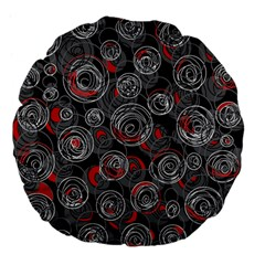 Red and gray abstract art Large 18  Premium Flano Round Cushions
