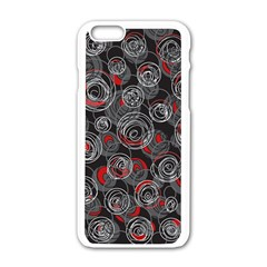 Red and gray abstract art Apple iPhone 6/6S White Enamel Case