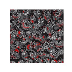 Red and gray abstract art Small Satin Scarf (Square)