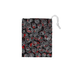 Red and gray abstract art Drawstring Pouches (XS)