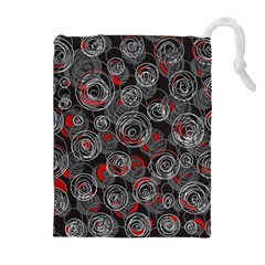 Red and gray abstract art Drawstring Pouches (Extra Large)