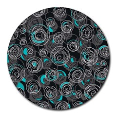 Gray and blue abstract art Round Mousepads