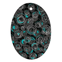 Gray and blue abstract art Ornament (Oval)
