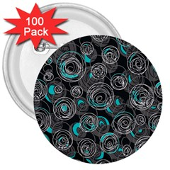 Gray and blue abstract art 3  Buttons (100 pack)