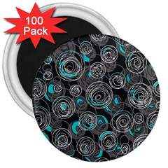 Gray and blue abstract art 3  Magnets (100 pack)