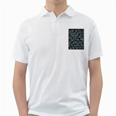 Gray and blue abstract art Golf Shirts