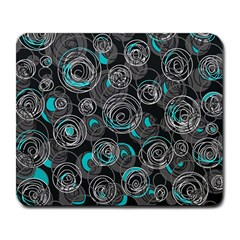 Gray and blue abstract art Large Mousepads
