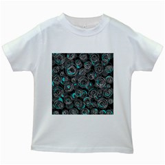 Gray and blue abstract art Kids White T-Shirts