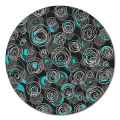Gray and blue abstract art Magnet 5  (Round)