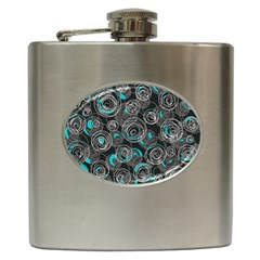 Gray and blue abstract art Hip Flask (6 oz)