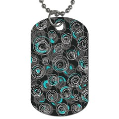 Gray and blue abstract art Dog Tag (Two Sides)