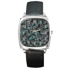 Gray and blue abstract art Square Metal Watch