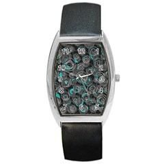 Gray and blue abstract art Barrel Style Metal Watch