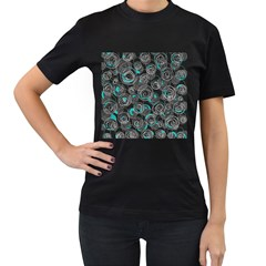 Gray and blue abstract art Women s T-Shirt (Black) (Two Sided)
