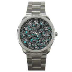 Gray and blue abstract art Sport Metal Watch