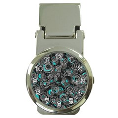 Gray and blue abstract art Money Clip Watches