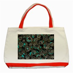 Gray and blue abstract art Classic Tote Bag (Red)