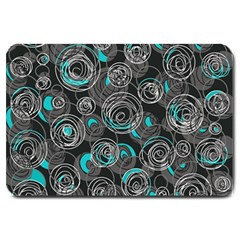 Gray and blue abstract art Large Doormat