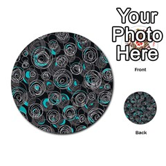 Gray and blue abstract art Multi-purpose Cards (Round)