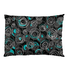 Gray and blue abstract art Pillow Case