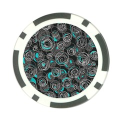 Gray and blue abstract art Poker Chip Card Guards (10 pack)