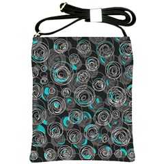 Gray and blue abstract art Shoulder Sling Bags