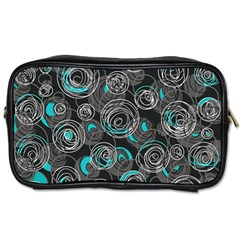Gray and blue abstract art Toiletries Bags