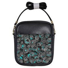 Gray and blue abstract art Girls Sling Bags