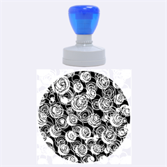 Gray and blue abstract art Rubber Round Stamps (Large)
