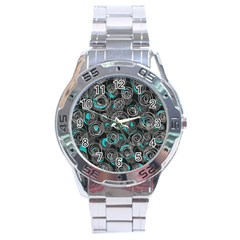 Gray and blue abstract art Stainless Steel Analogue Watch