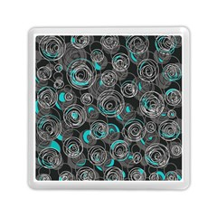 Gray and blue abstract art Memory Card Reader (Square)
