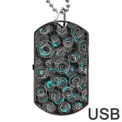 Gray and blue abstract art Dog Tag USB Flash (Two Sides)